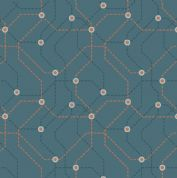 Lewis & Irene - City Nights - 6030 - Teal & Copper Map Geometric (Metallic) - A293.2 - Cotton Fabric